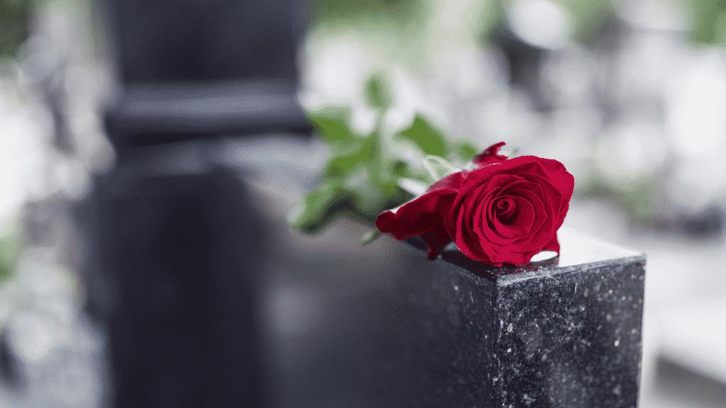 Lápide de túmulo com uma rosa vermelha sobre ela