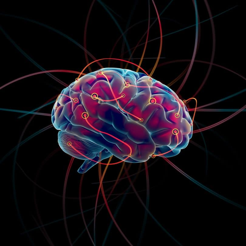 Figura de um cérebro azul com diversos fios vermelhos ligando pontos diferentes dele mesmo.