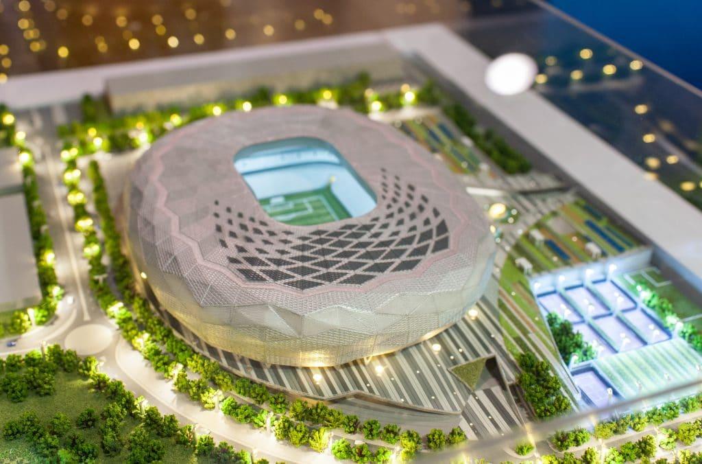 Maquete do projeto de construção do estádio para sediar a abertura dos jogos da copa do mundo de 2022 no Katar.