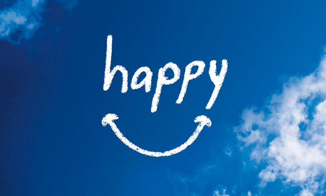 """Capa do documentário """"Happy"""", com um sorriso desenhado sobre um céu ensolarado."""
