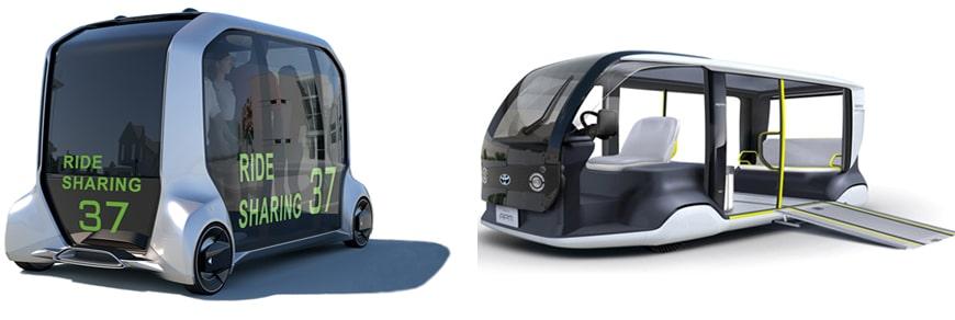 O e-Palette, um veículo retangular com quatro rodas, sem necessidade de motorista, e capacidade de transportar pessoas em pé, e o APM, um pequeno ônibus com capacidade para até cinco passageiros, uma rampa de acesso para pessoas com dificuldade de locomoção, e um assento frontal para o motorista.