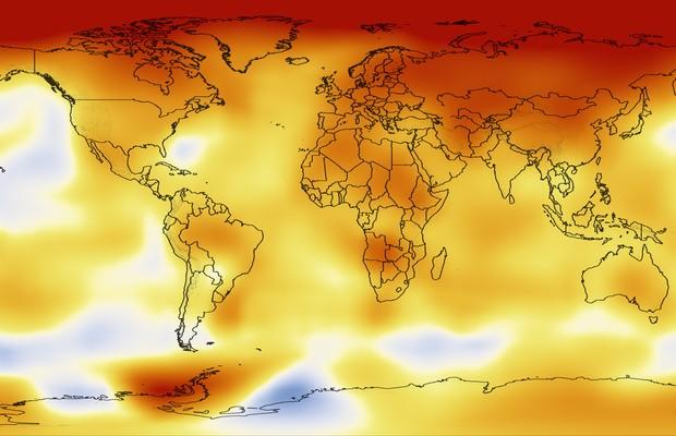 Mapa de cor da Nasa, que mostra os locais onde a Terra esquentou mais devido às mudanças climáticas. Pelo mapa, percebe-se que as áreas mais afetadas se concentram nos polos do planeta.