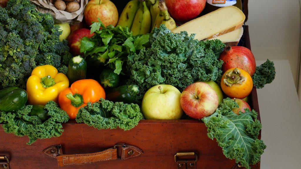 Imagem de uma mala repleta de horaliças, frutas, legumes e outros alimentos com nutrientes para uma alimentação saudável.