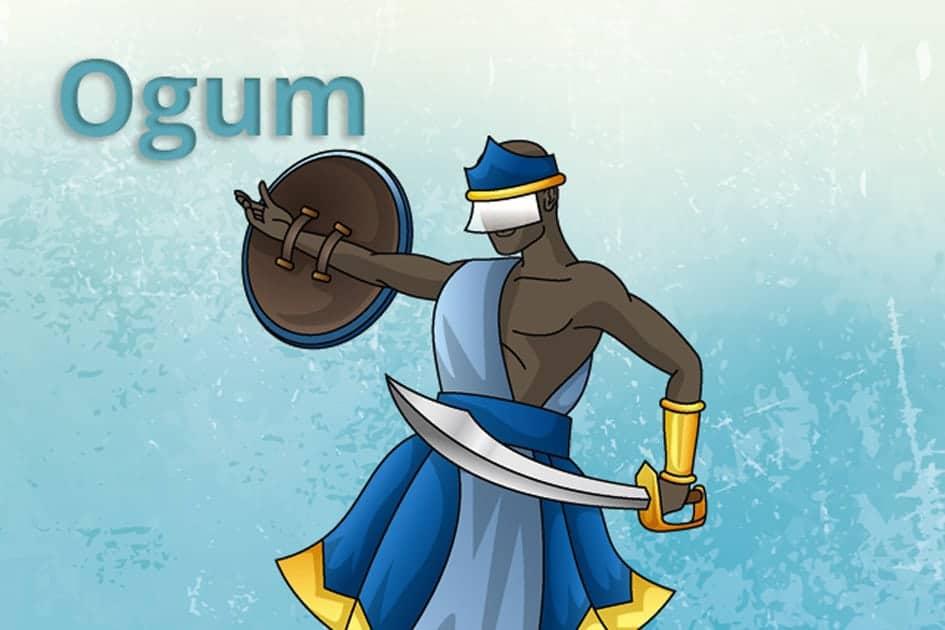 Desenho de Ogum segurando um escudo em sua mão direita, e uma espada em sua mão esquerda.