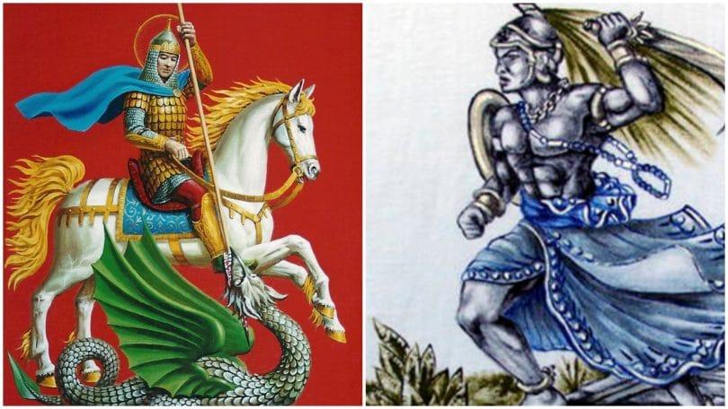 Em metade da imagem, São Jorge em um cavalo matando o dragão com uma lança. Na outra metade, Ogum correndo, segurando uma espada atrás de sua cabeça.