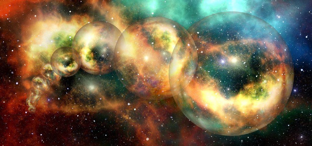 Espaço estrelado com diversos globos idênticos vindo do fundo da tela para a frente em formato de arco. Todos os globos são iguais, apenas em posições diferentes. Eles são transparentes e existe uma luz amarela próxima a borda dentro de todos.