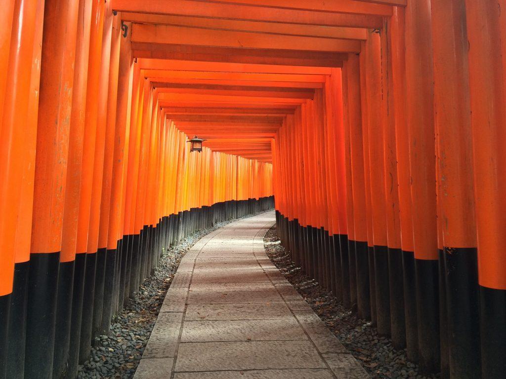 Imagem do caminho que dá acesso ao santuário japonês denominado INARI. O caminho é todo feito de madeira nas cores vermelho e preto, fechando o teto e nas laterais.