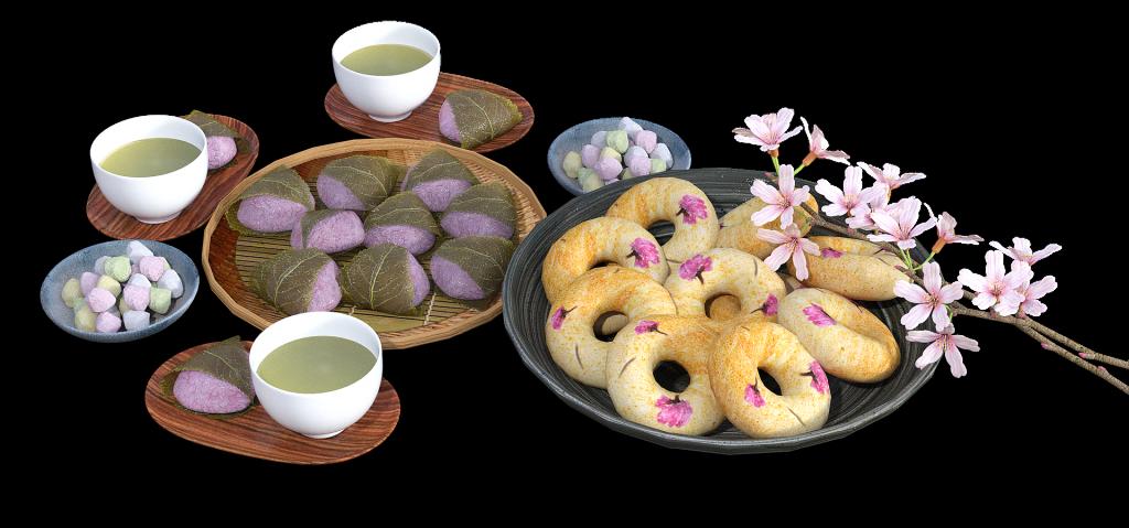 Imagem de uma mesa posta com travessas cheias de biscoitinhos decorados com um arranjo de flor de cerejeira. Também estão sobre a mesa pequenas cumbucas com chá.