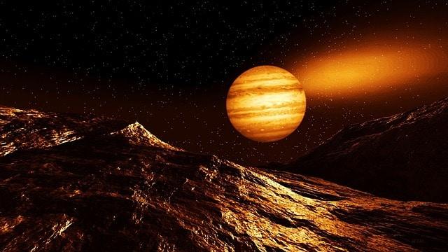 Imagem manipulada de Júpiter visto do solo de Marte.