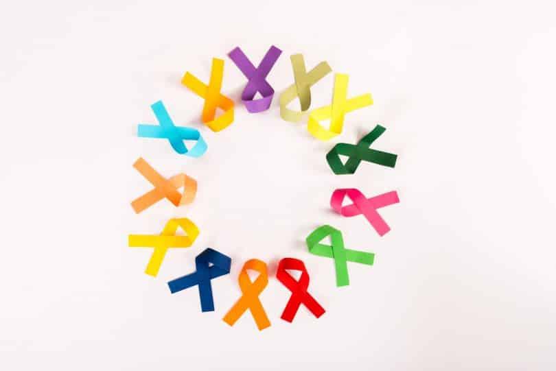 Várias fitas usadas como símbolo de prevenção ao câncer dispostas em círculo.