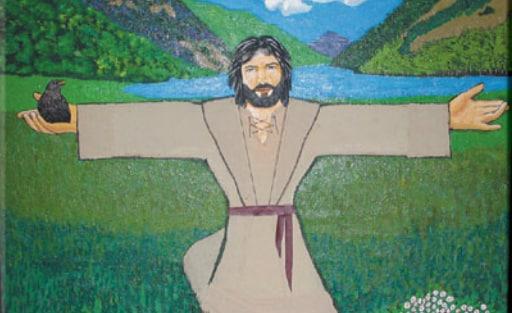 Ilustração de St Kevin em pé, em um parque, com um corvo apoiado em uma das mãos.