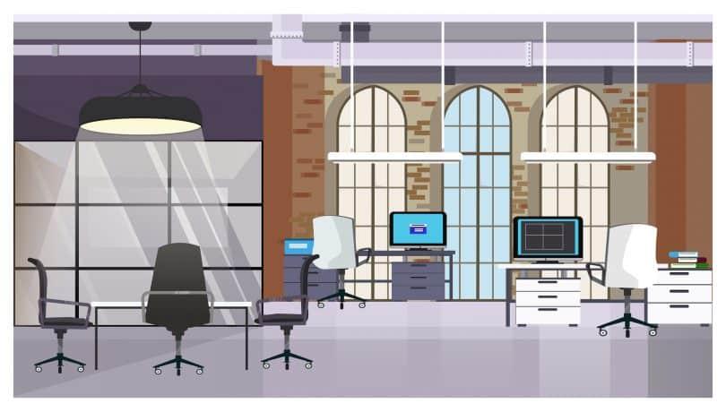 Desenho colorido de escritório com janelas, mesas, cadeiras e computadores.