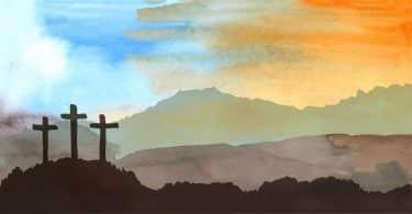 Cena de páscoa com 3 crucifixos desenhada sobre uma paisagem de aquarela.