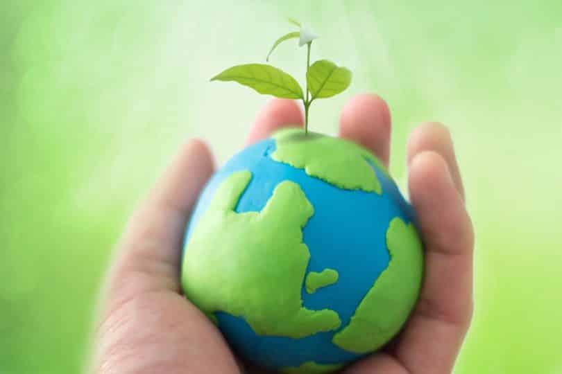 Mão segurando miniatura em formato de planeta Terra