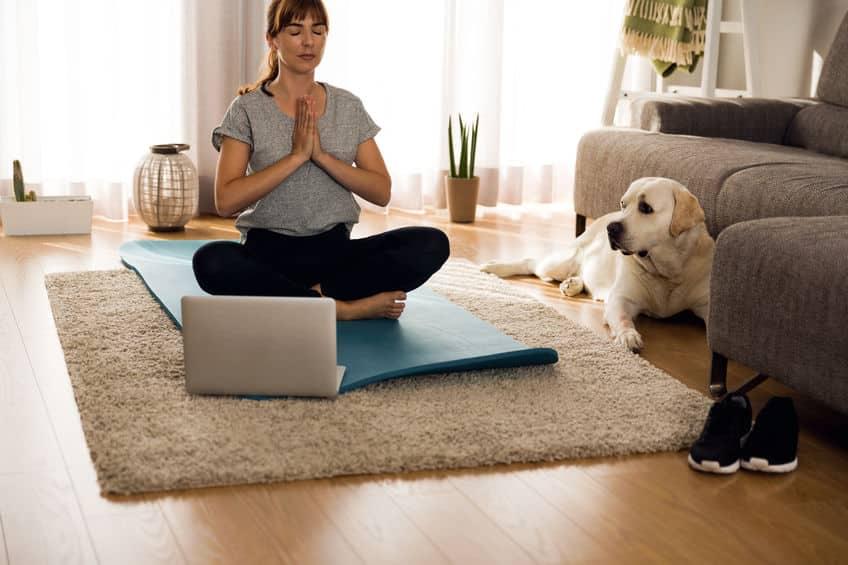 Mulher meditando em chão de sala, sobre um tapete de ioga. Em sua frente um notebook está aberto, e ao seu lado um cachorro está deitado e olhando para ela.