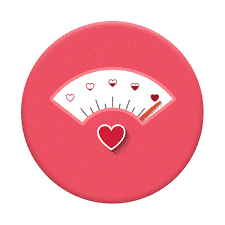 Balança manual, onde ao invés dos números em cada indicação, existem corações preenchidos do vazio ao cheio.
