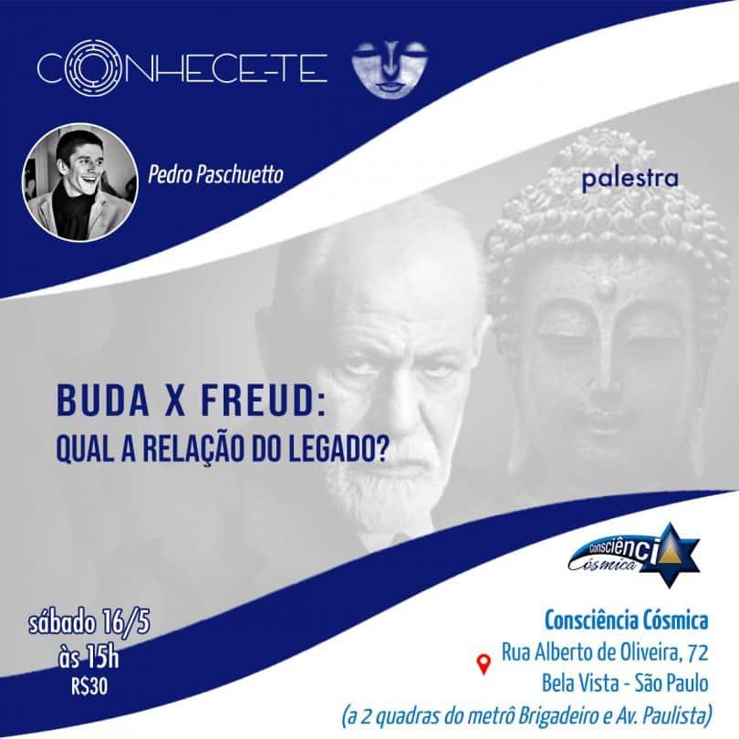 Flyer de palestra Buda x Freud