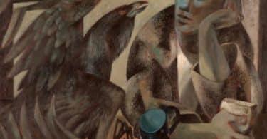 Ilustração de St Kevin olhando para um pássaro, ao lado de um ovo.