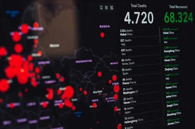 Foto de tela de computador com números de mortes e casos de Coronavírus pelo mundo