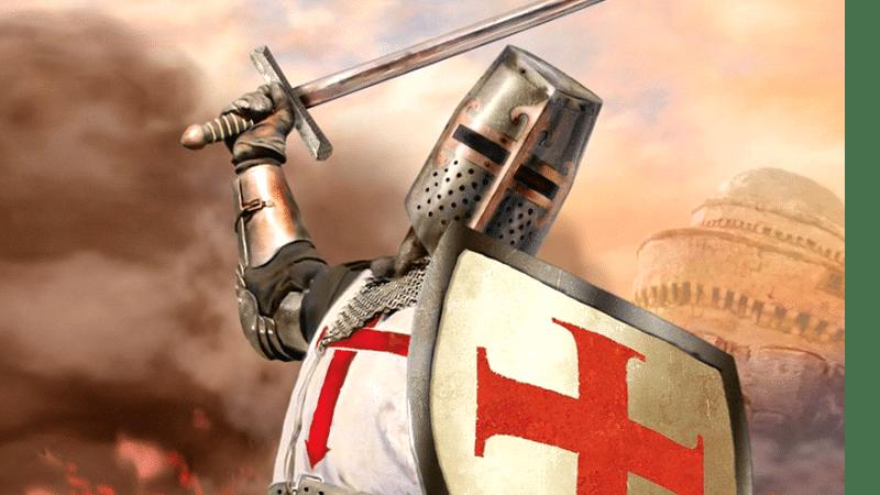 Ilustração de um militar cristão representando a dominação religiosa pelas Cruzadas.