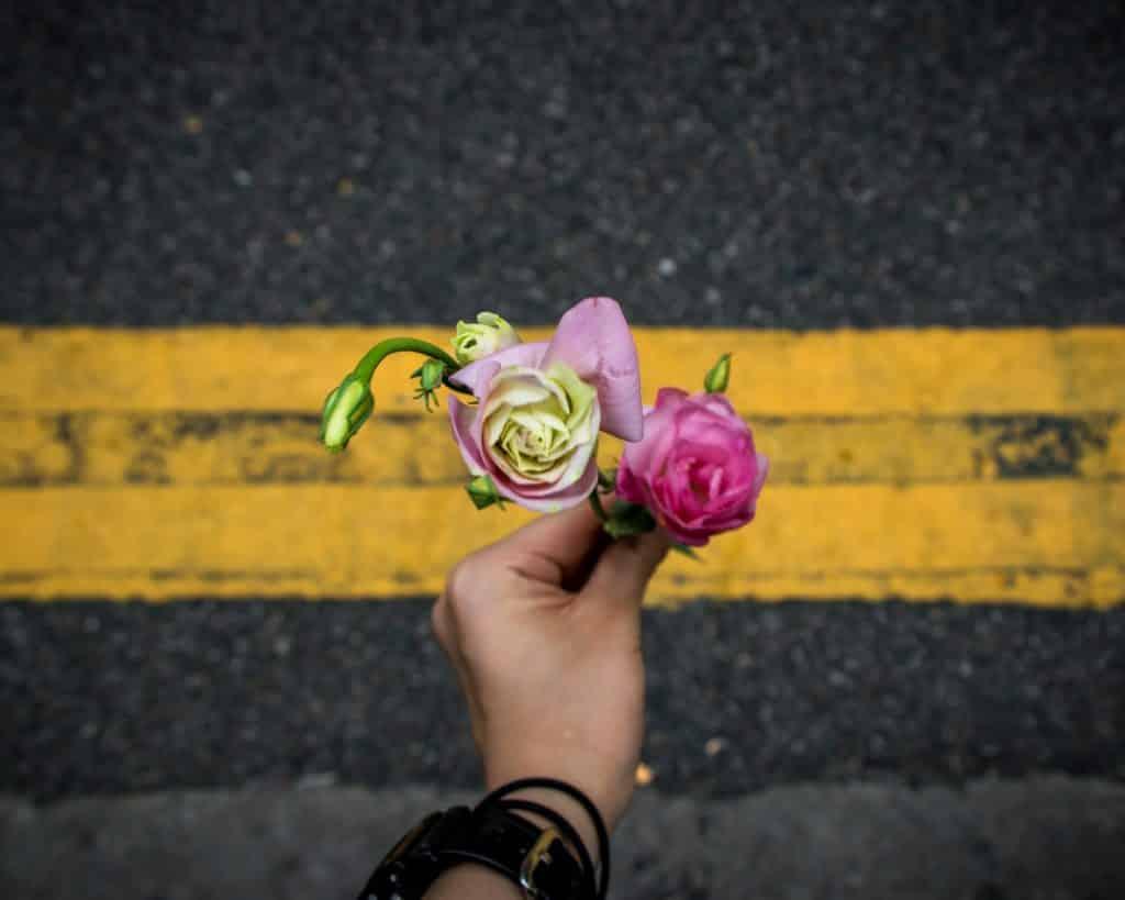 Pessoa segurando flores na direção da rua
