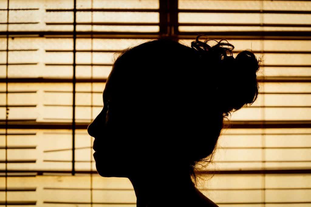 Silhueta de rosto de mulher de perfil com janela ao fundo