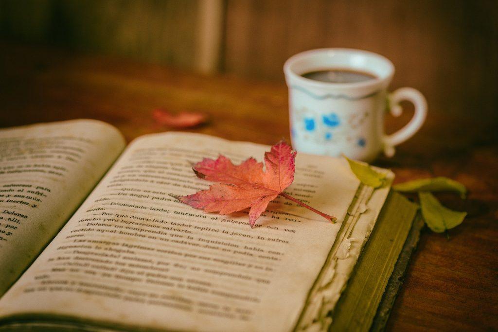 Imagem de um livro espírit aberto sobre uma mesa de madeira. Sobre ele, uma folhagem de outono na cor laranja. Ao lado do livro, um caneca de chá.