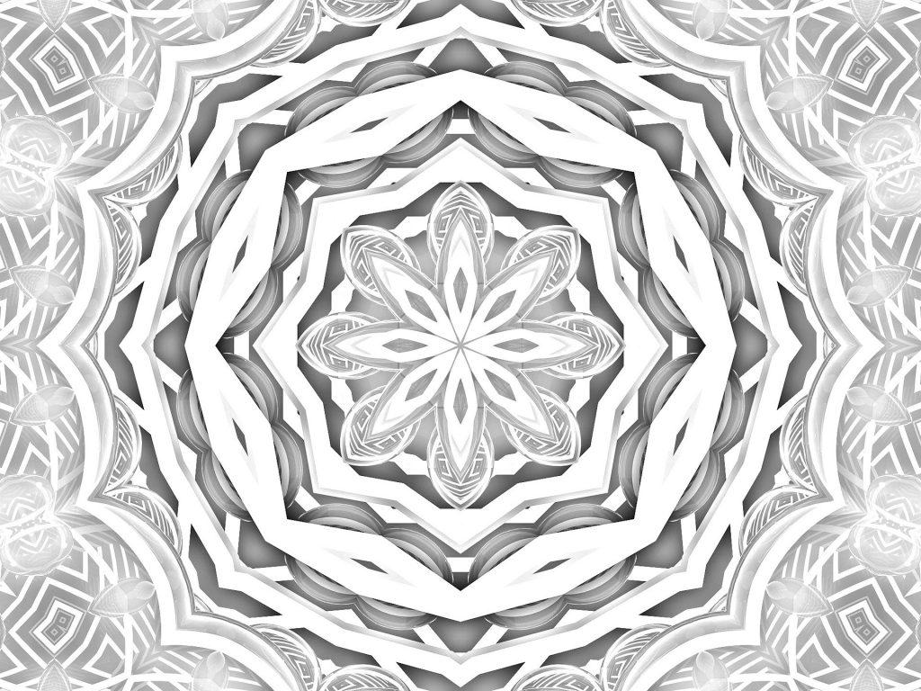 Imagem em preto de branco de uma mandala lunar.
