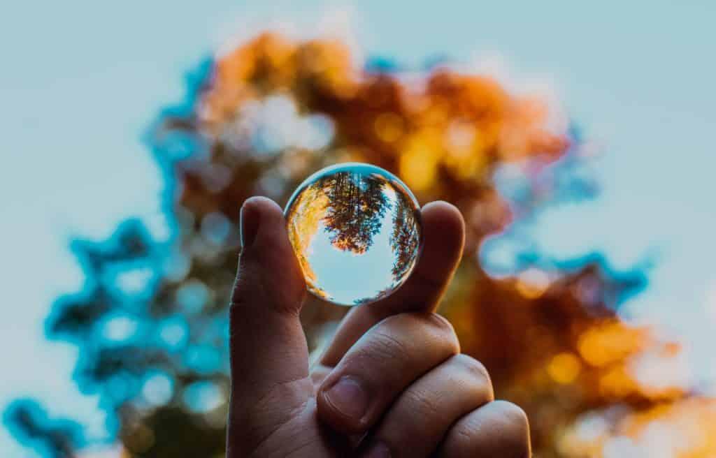 Homem segurando uma bolinha transparente refletindo uma árvore
