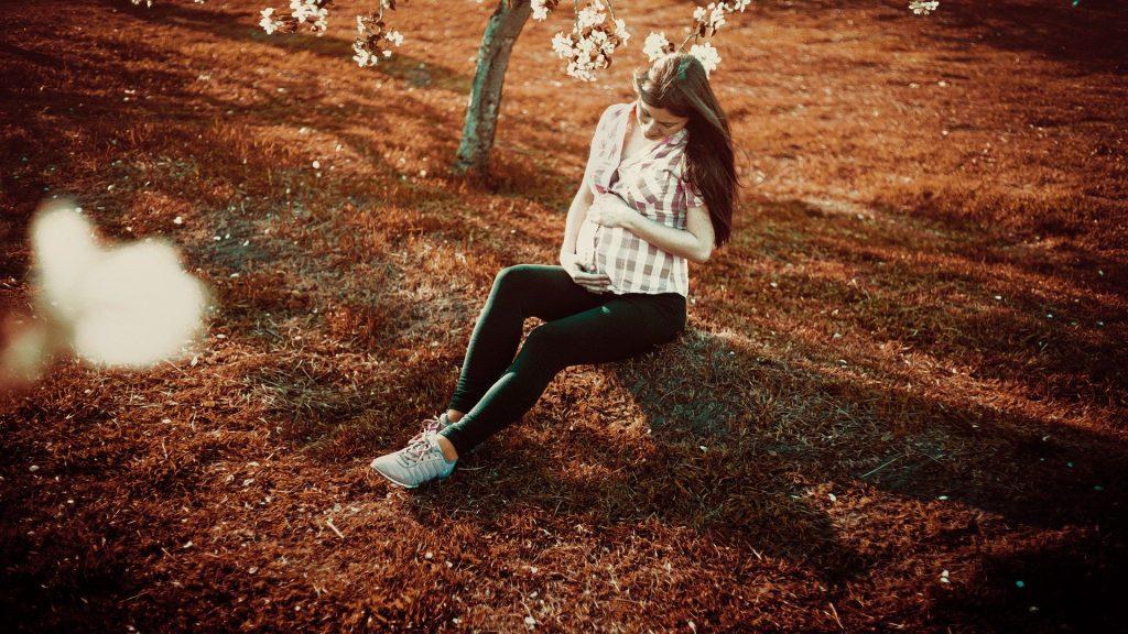 Imagem de um campo aberto com uma árvore apenas. Nessa imagem tems a figura de uma mulher gráfica sentada e segurando a sua barriga.