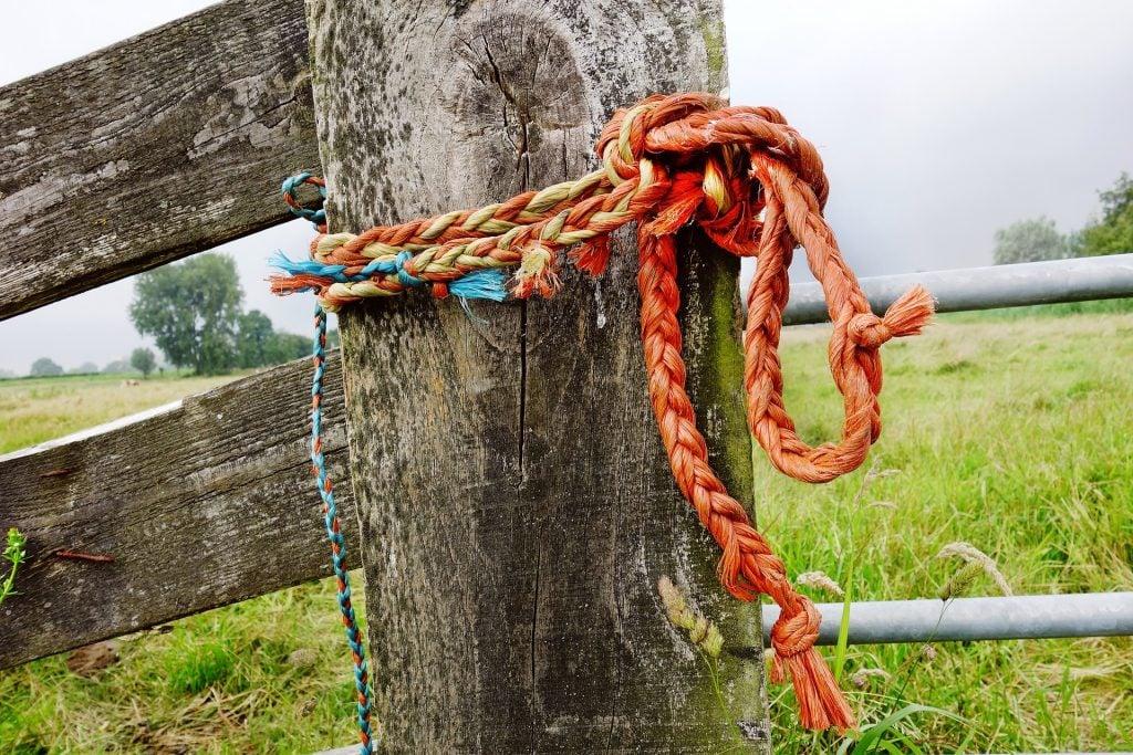 Imagem de uma corda alaranjada com um nó segurando a porteira de uma cerca de madeira.