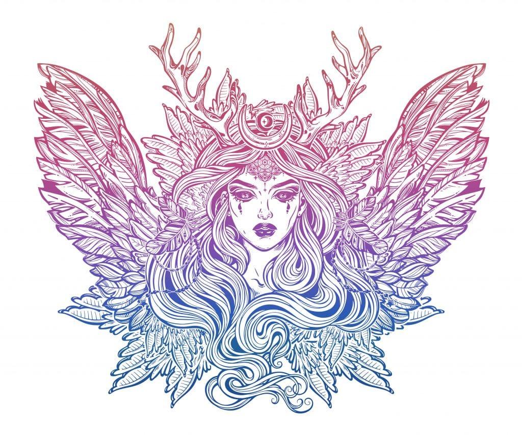 Imagem da mulher mágica Lilith vestida de anjo demoníaco com chifres de veado e cabelos longos.