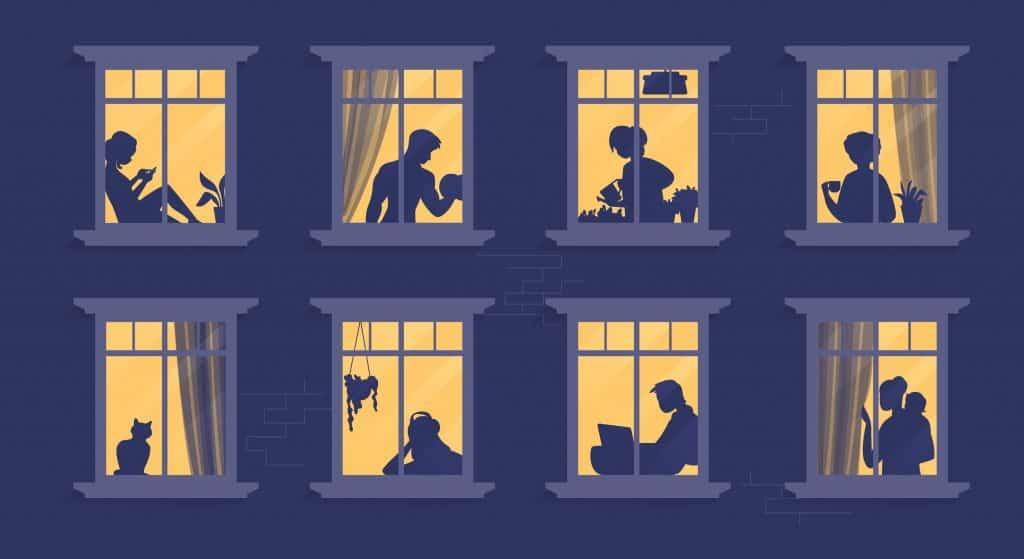 Desenho de várias janelas de apartamentos diferentes, com silhuetas de pessoas fazendo atividades diferentes.