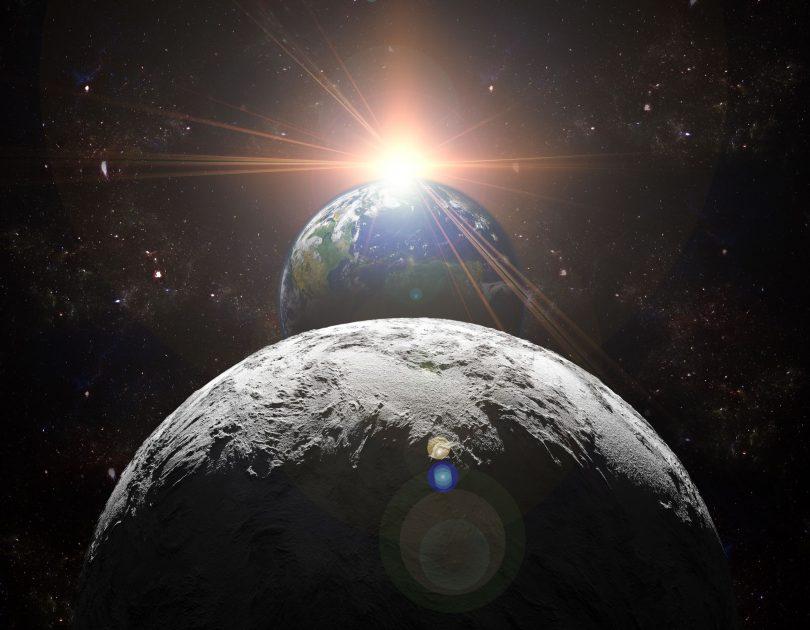 Imagem da Lua, a Terra e o Sol, alinhados.