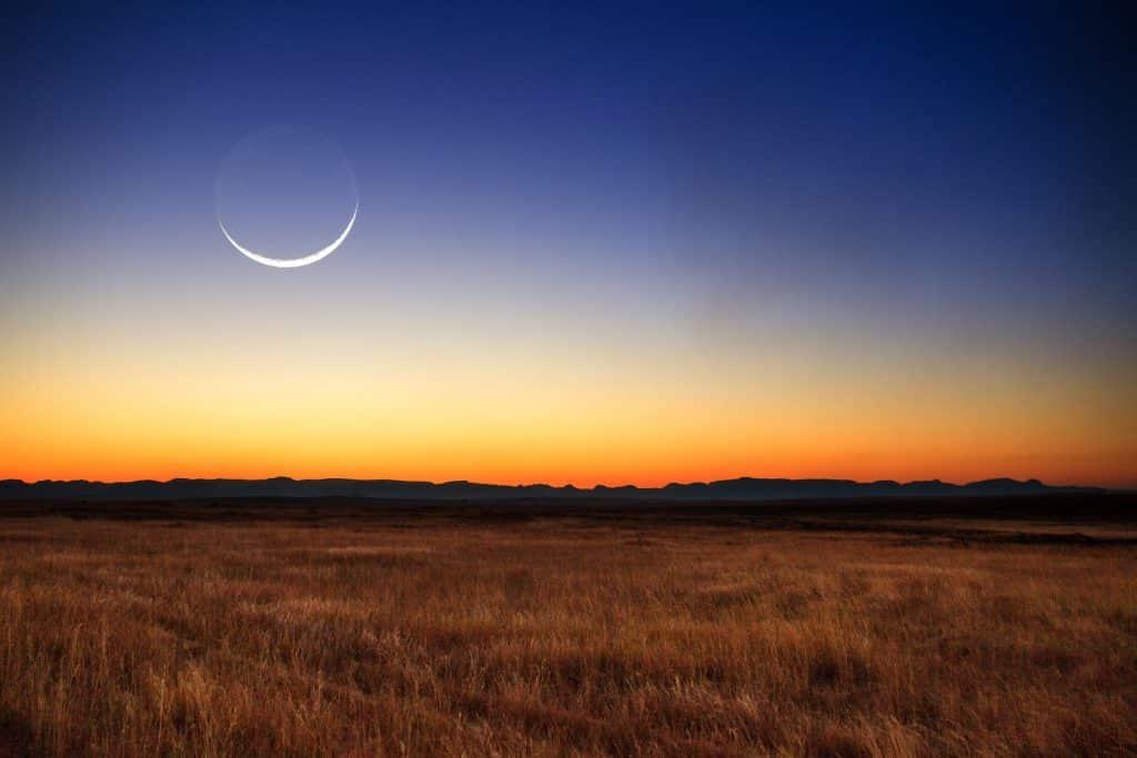 Lua nova durante pôr-do-sol, em uma savana.