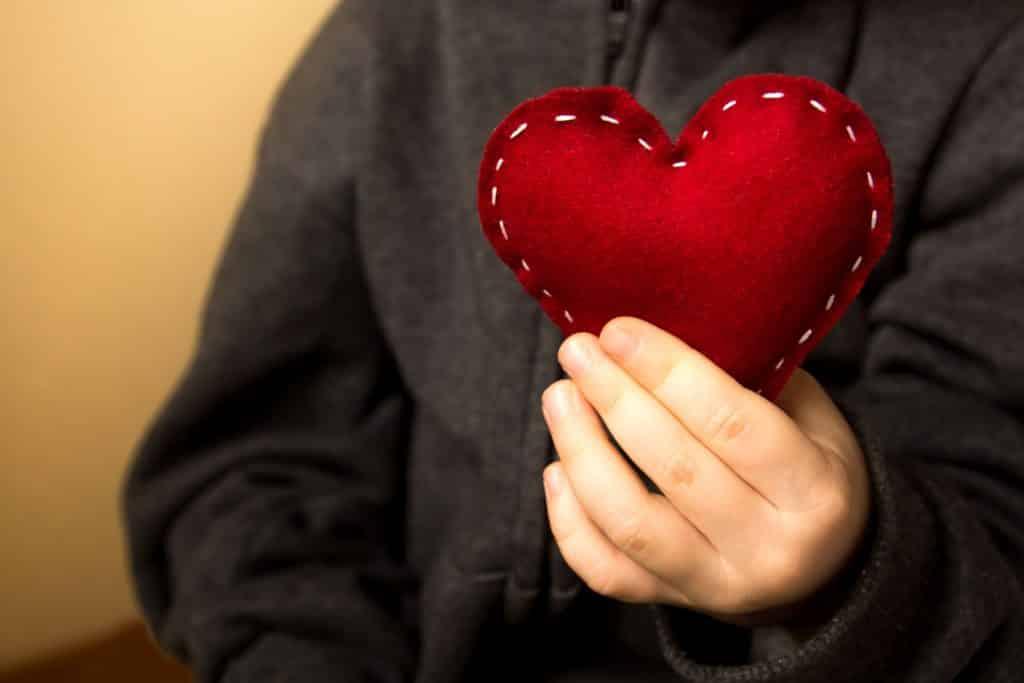 Pessoa segurando coração almofadado em frente ao peito.