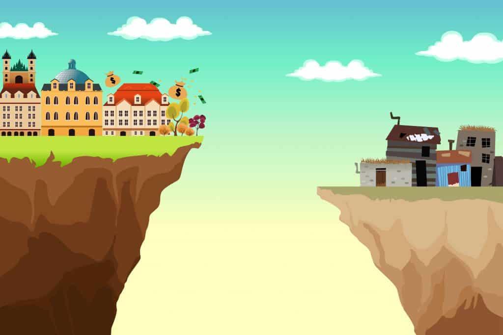 Desenho de dois morros, com um abismo no centro. No da esquerda, mansões, dinheiro, e áreas verdes. Do lado direito, barracos e casas precárias, cinzentos.