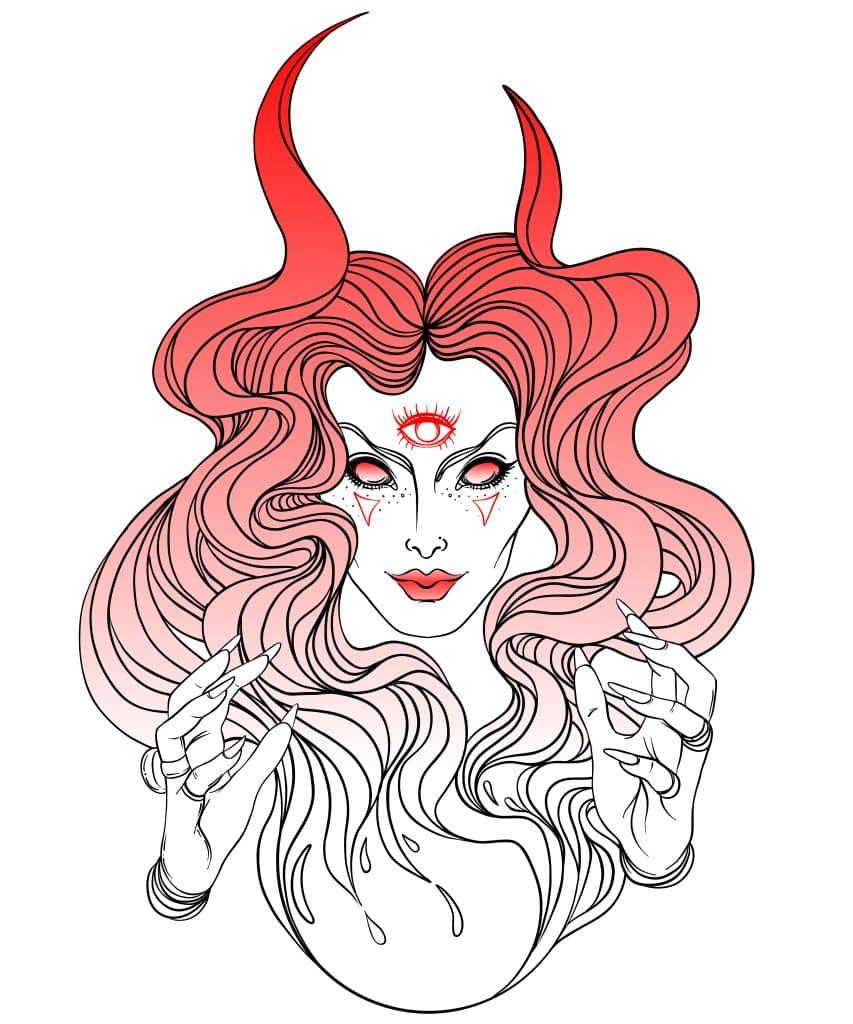 Imagem em contorno da linda deusa Lilith feita na cor avermelhada.
