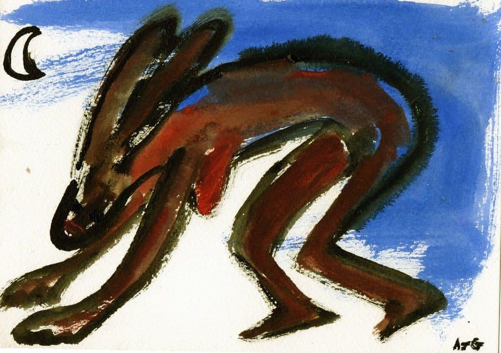 Pintura de Eostre, com os joelhos levemente flexionados, e as mãos tocando o chão, inclinada para frente.