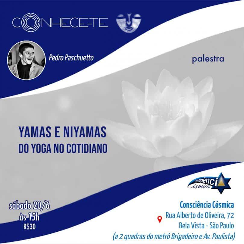 """Flyer de divulgação even to """"Yamas e Niyamas do Yoga no cotidiano"""""""