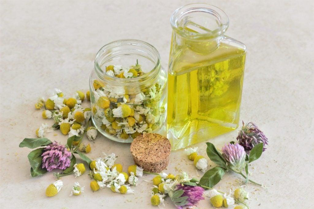 Imagem de flores de camomila em um pote de vidro e em outro recipiente de vidro um tipo de óleo, ingredientes que serão utilizados na aromaterapia para uso de quem sofre com parkinson.