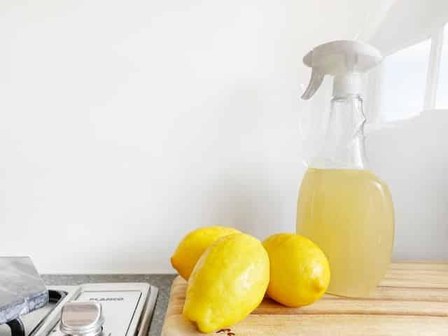 Borrifador com vinagre e frutas em cima da mesa