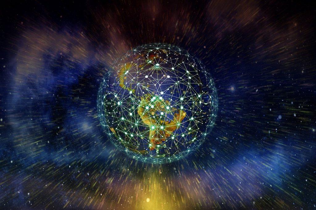 Desenho do planeta Terra, mas ao invés do oceano, os continentes são ligados por pontos e linhas, indicando redes.