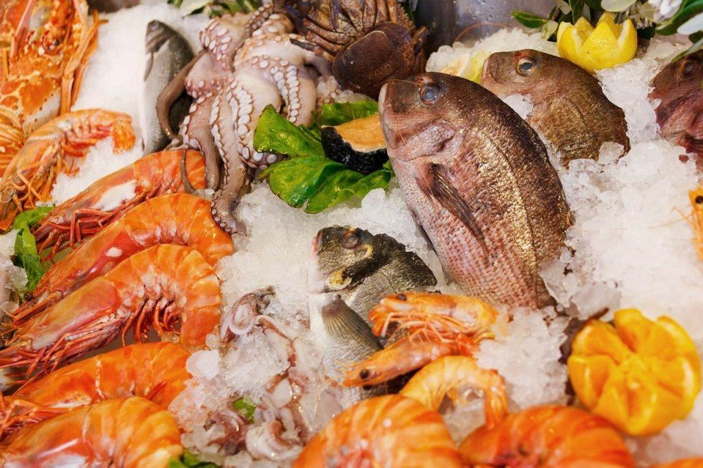 Imagem de vários frutos do mar como camarões grandes e pequenos, peixes, lula. Estão sobre o gelo.