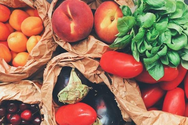 Frutas e legumes vistos de cima