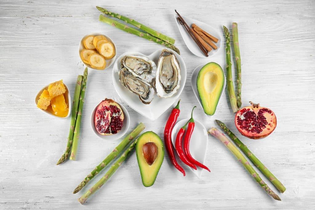 Imagem com vários tipos de alimentos naturais que podem ser utilizados para aumentar a libido. Entre eles temos: abacate, ostras, romã e gengibre.