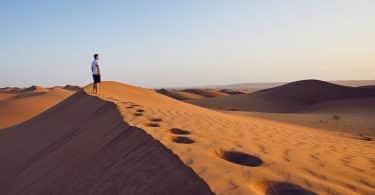 Homem sozinho em um deserto durante o dia