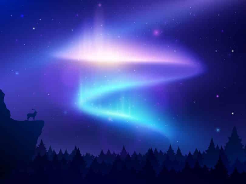 Ilustração de céu a noite, com árvores na parte inferior da imagem. No céu, existe um rastro de luz azul e rosa em formato de S.