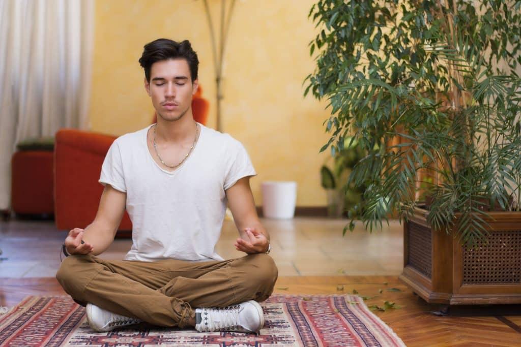 Homem sentado em tapete, no chão de uma sala, com as pernas cruzadas e os olhos fechados, meditando. Ao lado dele, um vaso com plantas altas.