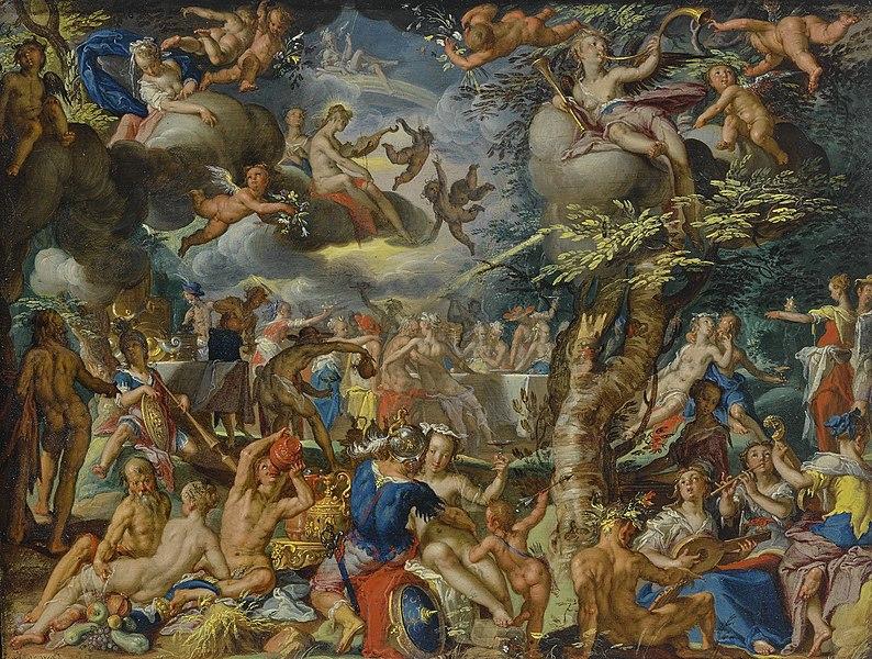 Pintura a óleo de deuses, anjos e outras divindades reunidas em um banquete.